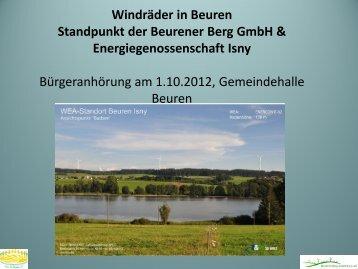 Windräder in Beuren Standpunkt der Beurener Berg GmbH ...