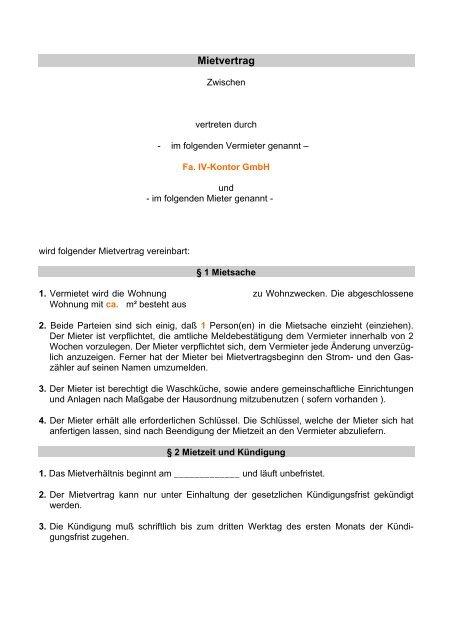 Mietvertrag Wohnung Pdf Download Immobilien Verwaltungs
