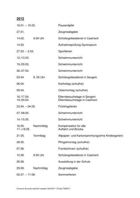 Consorzi da scola - Castrisch