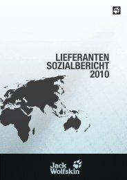 LIEFERANTEN SOZIAL BERICHT 2010 - JACK WOLFSKIN