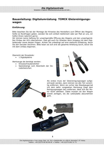 Bauanleitung: Digitalumrüstung TOMIX Gleisreinigungs- wagen