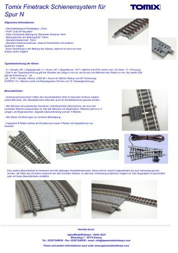 Tomix Finetrack Schienensystem  für Spur N - Japan Model Railways