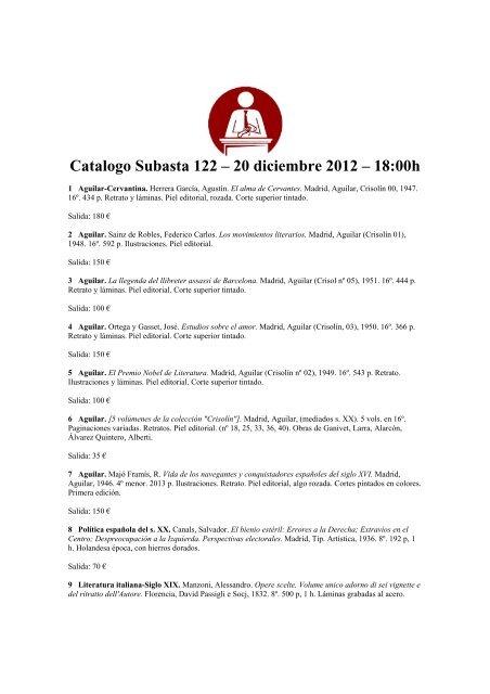 Catalogo Subasta 122 20 Diciembre 2012 Sala De Subastas