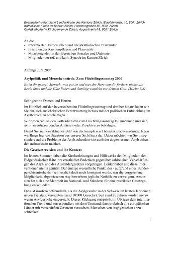 Asylpolitik und Menschenwürde. - Christkatholische Kirche der ...