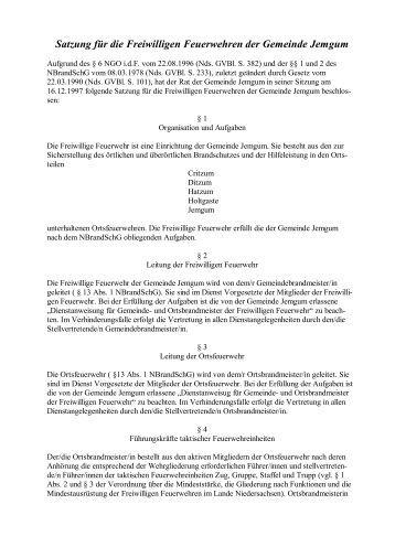 Satzung für die Freiwilligen Feuerwehren der Gemeinde Jemgum