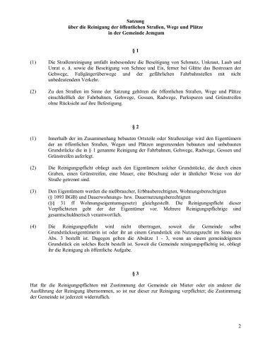 Satzung über die Reinigung der öffentlichen Straßen  ... - Jemgum