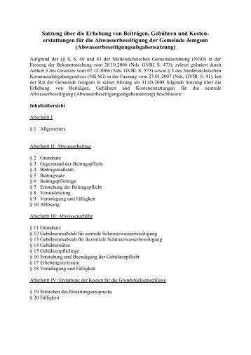 Satzung über die Erhebung von Beiträgen, Gebühren und ...  - Jemgum