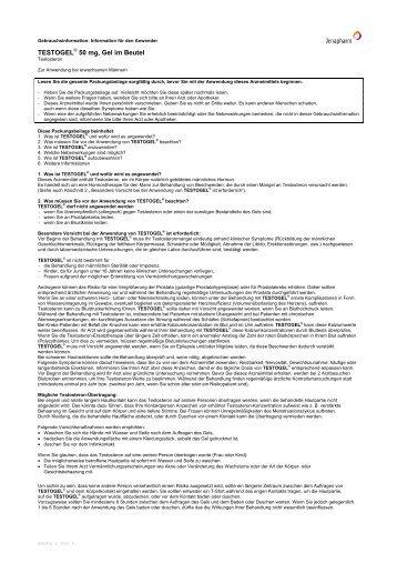 TESTOGEL® 50 mg, Gel im Beutel - Jenapharm