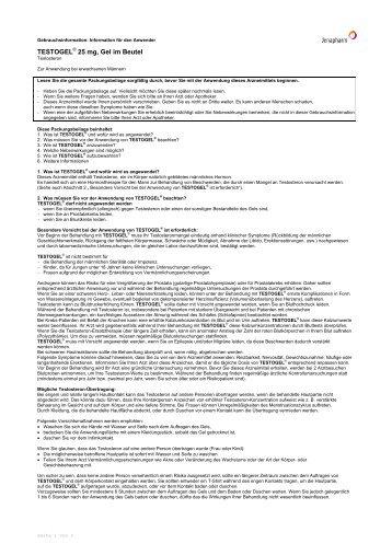 TESTOGEL® 25 mg, Gel im Beutel - Jenapharm