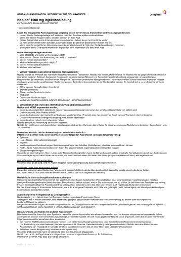 INFORMATION FÜR DEN ANWENDER Nebido 1000 Mg - Jenapharm