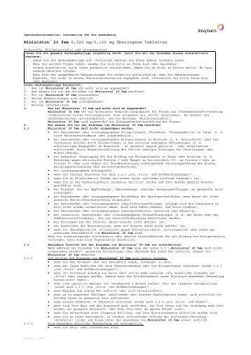 Minisiston® 20 fem 0,020 mg/0,100 mg überzogene ... - Jenapharm