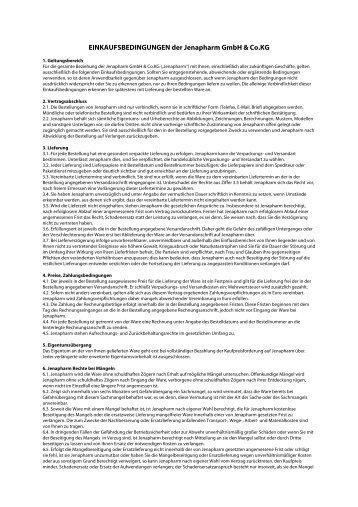 EINKAUFSBEDINGUNGEN der Jenapharm GmbH & Co