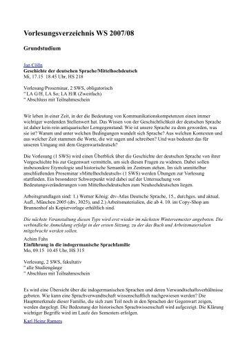 Vorlesungsverzeichnis WS 2007/08