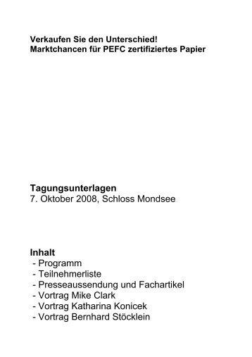 Tagungsunterlagen 7. Oktober 2008, Schloss ... - PEFC Austria