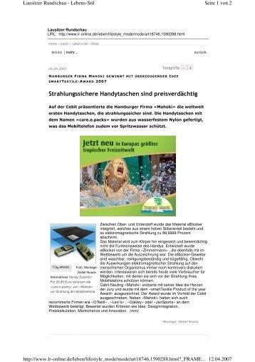 Strahlungssichere Handytaschen sind preisverdächtig - smartTextiles