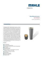 Staubfilterelemente 120 OK/OZ - MAHLE Industry - Filtration