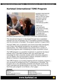 Karlstad International TIME Program - JFF