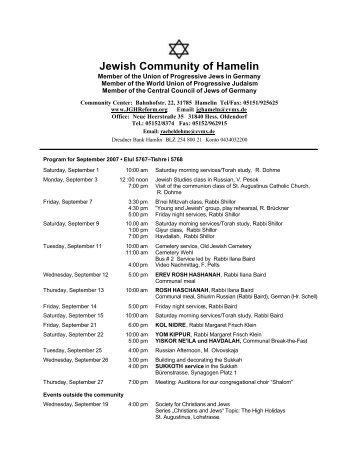 Jewish Community of Hamelin - The Jewish Congregation of Hamelin
