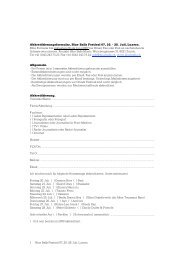 28. Juli, Luzern. 1 Akkreditierungsformular, Blue Balls Festival 07 ...