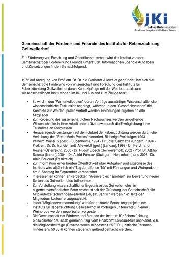 Gemeinschaft der Förderer und Freunde des  Instituts für ...
