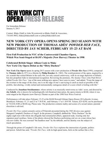 NYCO POWDER PR 010813v2 - New York City Opera