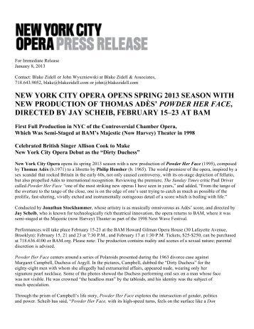 NYCO POWDER PR 010813v2 - New York City Opera