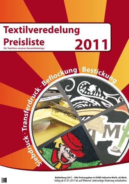 Textilveredelung Preisliste