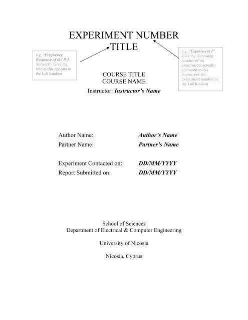 Engineering Lab Report Template - file format - University of Nicosia