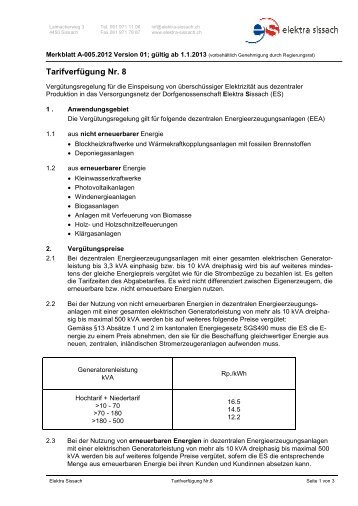 A-005_2012 Vers_01, Tarifverfügung Nr. 8 - Elektra Sissach