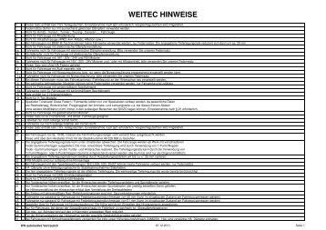 WEITEC HINWEISE - JMS Fahrzeugteile