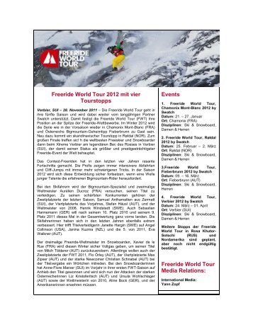 Freeride World Tour 2012 mit vier Tourstopps Events Freeride World ...