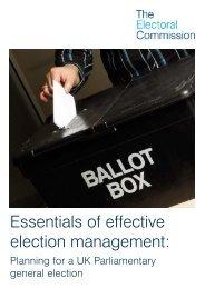 Essentials of effective election management: - Electoral Commission