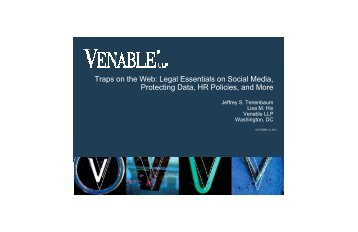 Traps on the Web: Legal Essentials on Social Media ... - Venable LLP