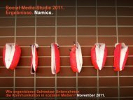 Social Media-Studie 2011. Ergebnisse. Namics.