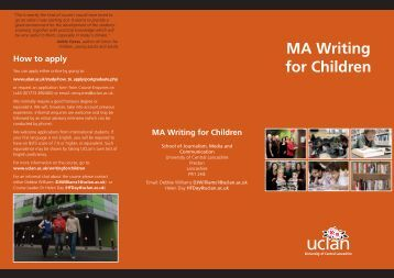 MA Writing for Children - University of Central Lancashire