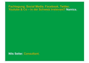 Fachtagung. Social Media. Facebook, Twitter, Youtube & Co – in der ...