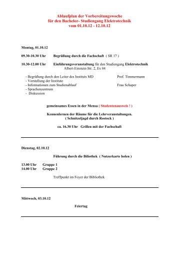 Studiengang Elektrotechnik vom 01.10.12 - 12.10.12