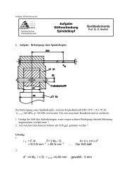 Aufgabe Stiftverbindung Spindelkopf Geräteelemente d2 =4 MD / π ...