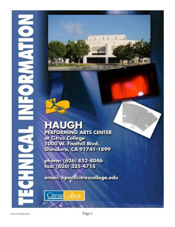 detailed technical specifications document. - Haugh Performing Arts ...