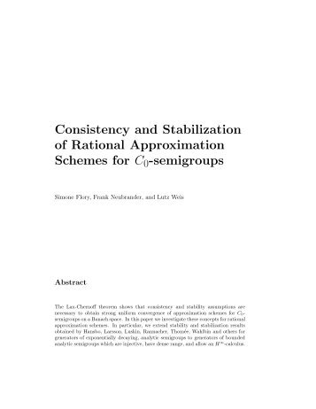 Consistency and Stabilization of Rational Approximation Schemes ...