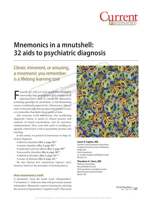 Mnemonics in a mnutshell - Current Psychiatry