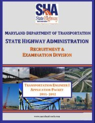 TRANSPORTATION ENGINEER I - Maryland Department of