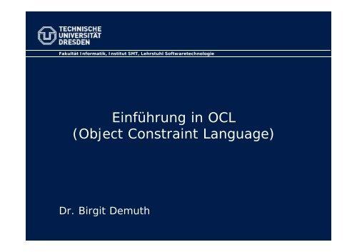 Einführung in OCL - Www-st.inf.tu-dresden.de