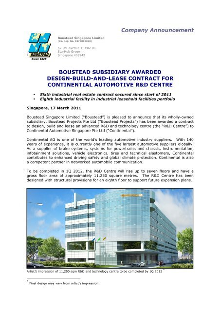 Boustead Subsidiary Awarded Design Build And Lease Contract