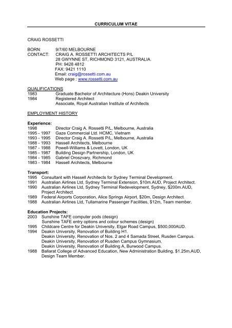 Curriculum Vitae Craig Rossetti Architects