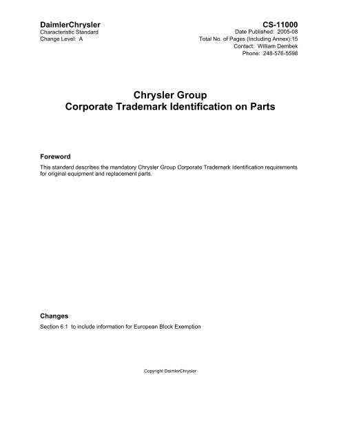 Chrysler Group Corporate Trademark Identification on Parts on