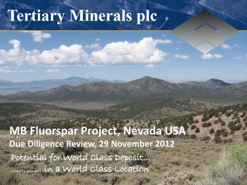 Download Latest Company Presentation - Tertiary Minerals