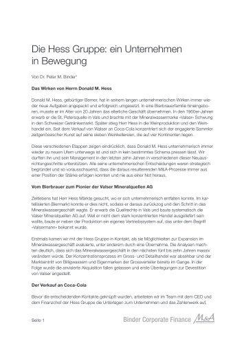 Die Hess Gruppe: ein Unternehmen in Bewegung - binder.ch
