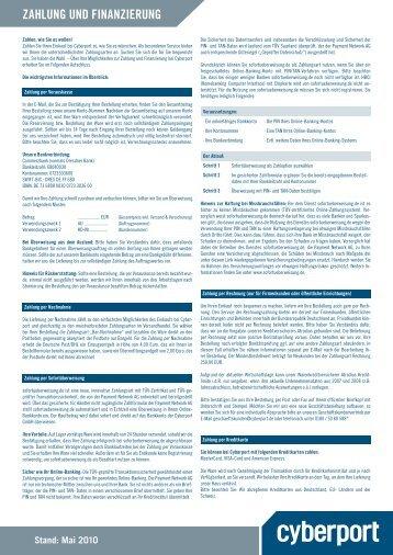 Zahlung und FinanZierung - Cyberport