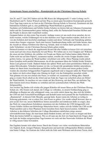 Schülerbericht von Tim Brühl (MSS  11) - Privates Johannes ...